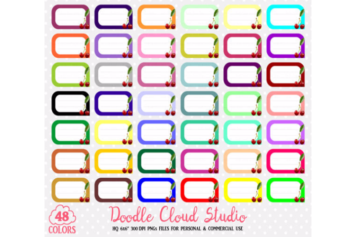 48 Colorful Cherry Labels Clipart Fruit Cherries Labels Stickers Icons  PNG with Transparent Background for Personal & Commercial Use example image 2
