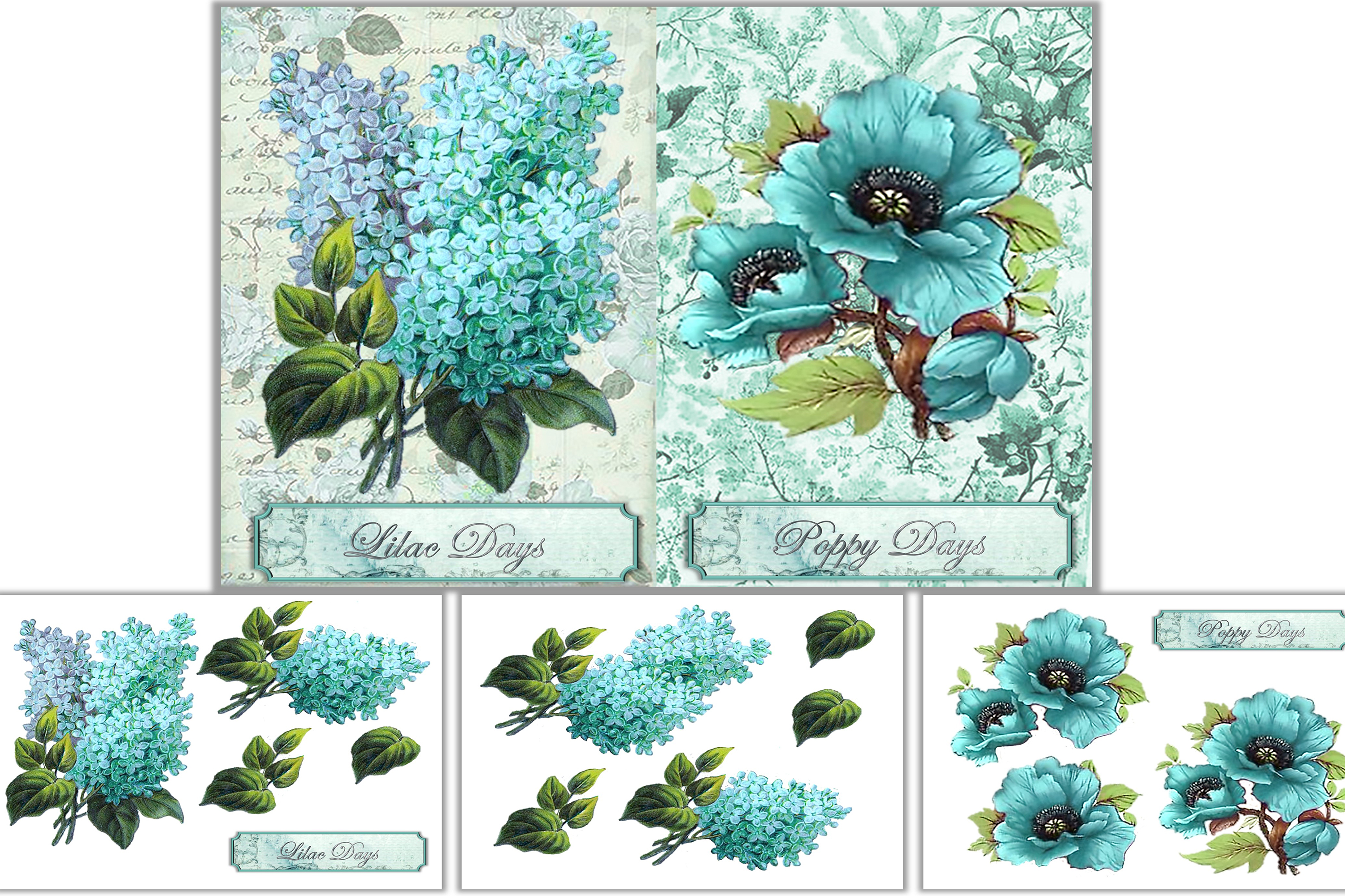 Printable journal pages with decoupage and clipart PNGs CU example image 2