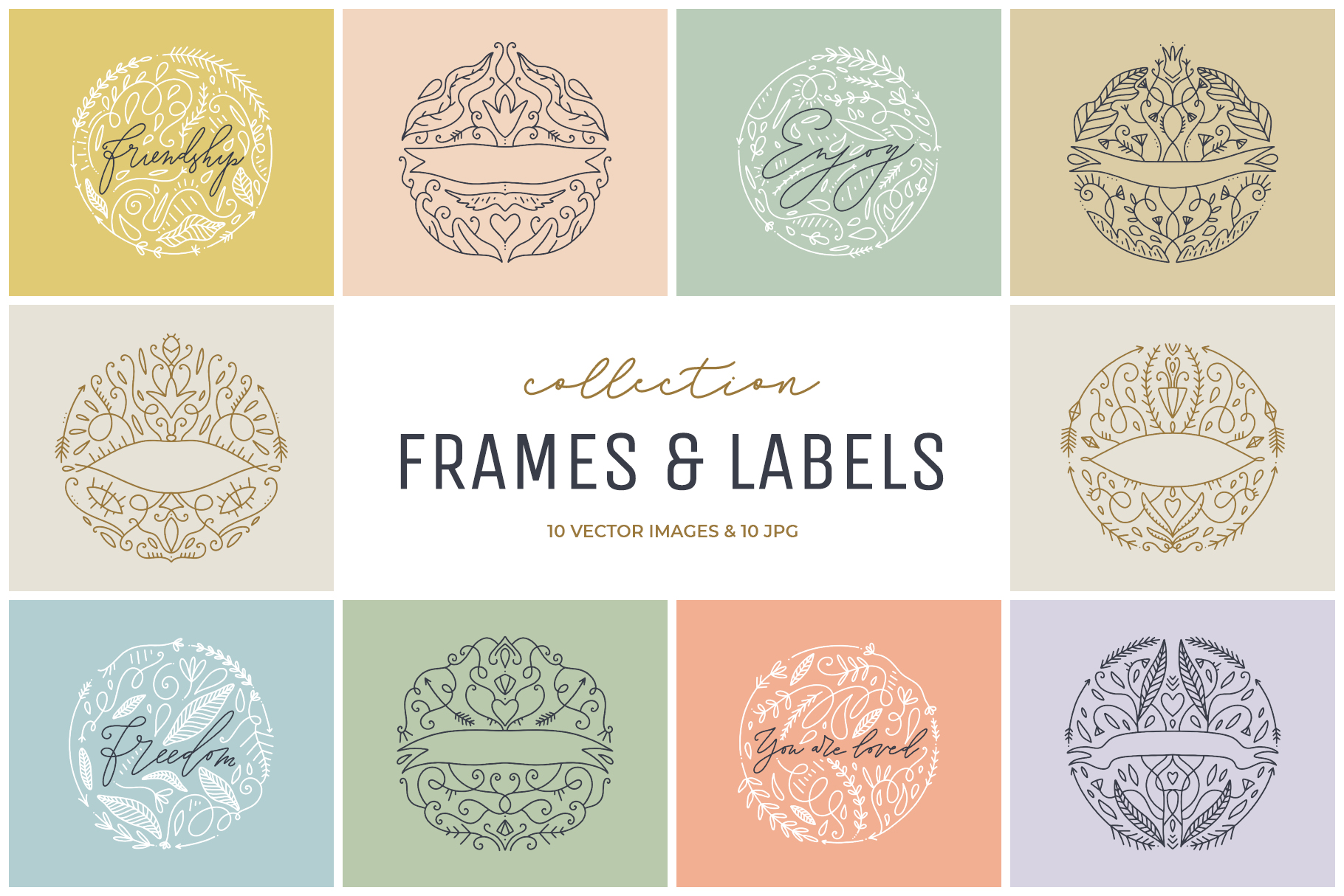 Vector ornate labels, clip art set example image 1