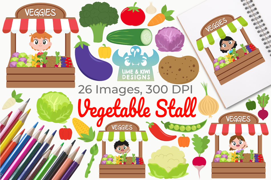 Vegetable Stall Clipart, Instant Download Vector Art example image 1