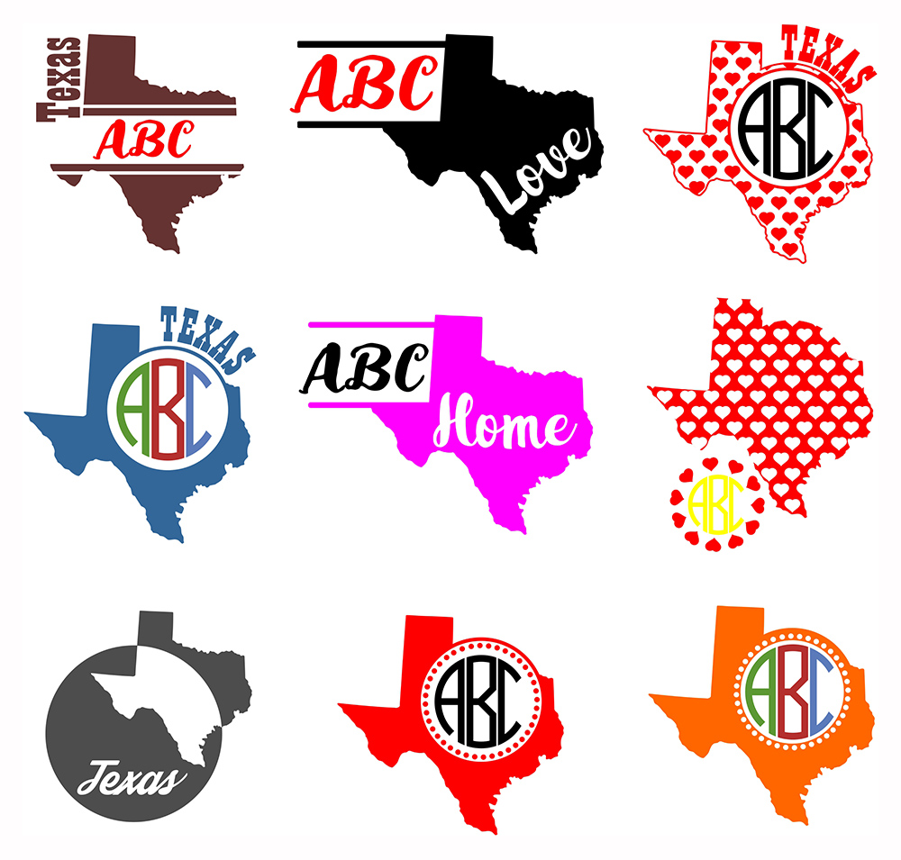 Texas Monograms SVG, JPG, PNG, DWG, CDR, EPS, AI example image 2