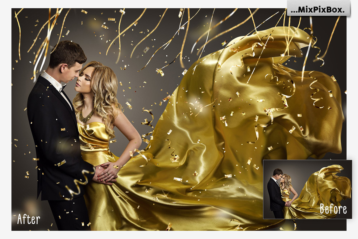 Golden Confetti Photo Overlays example image 4
