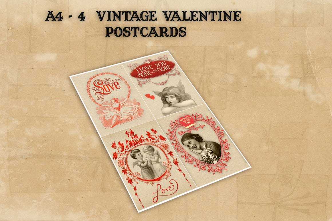 Valentine vintage 4 cards and postcards example image 3