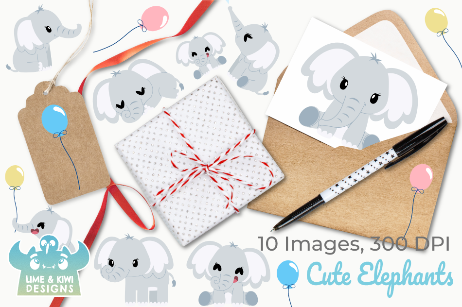 Cute Elephants Clipart, Instant Download Vector Art example image 4
