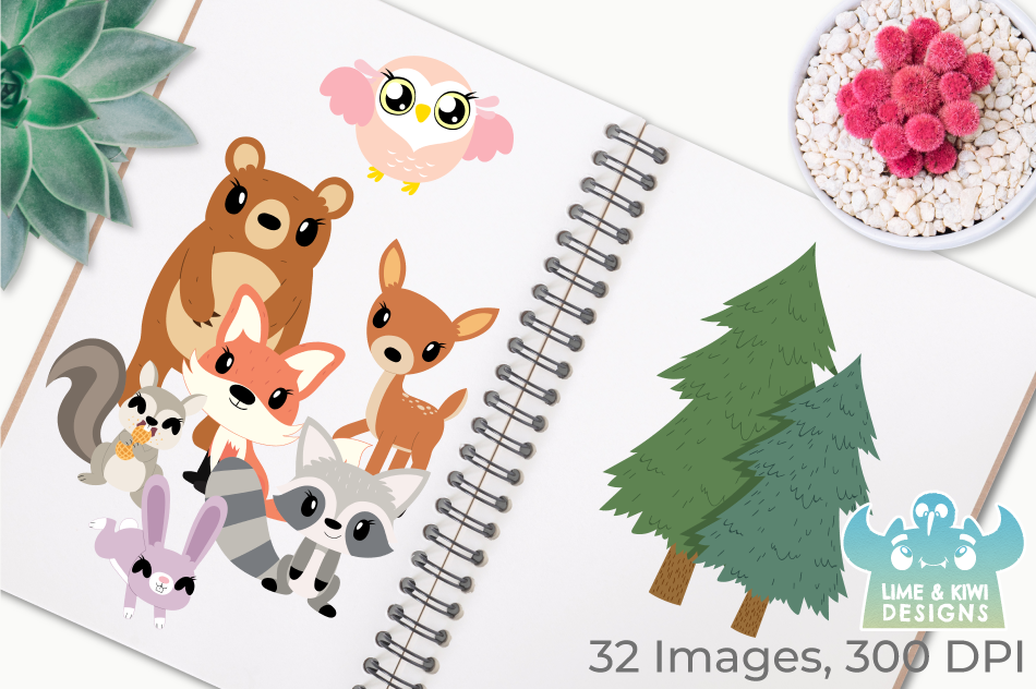 Woodland Animals Girls Clipart, Instant Download Vector Art example image 3