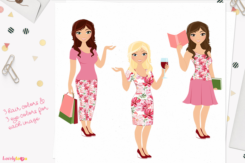 Woman lifestyle character clip art L093 Brook example image 1