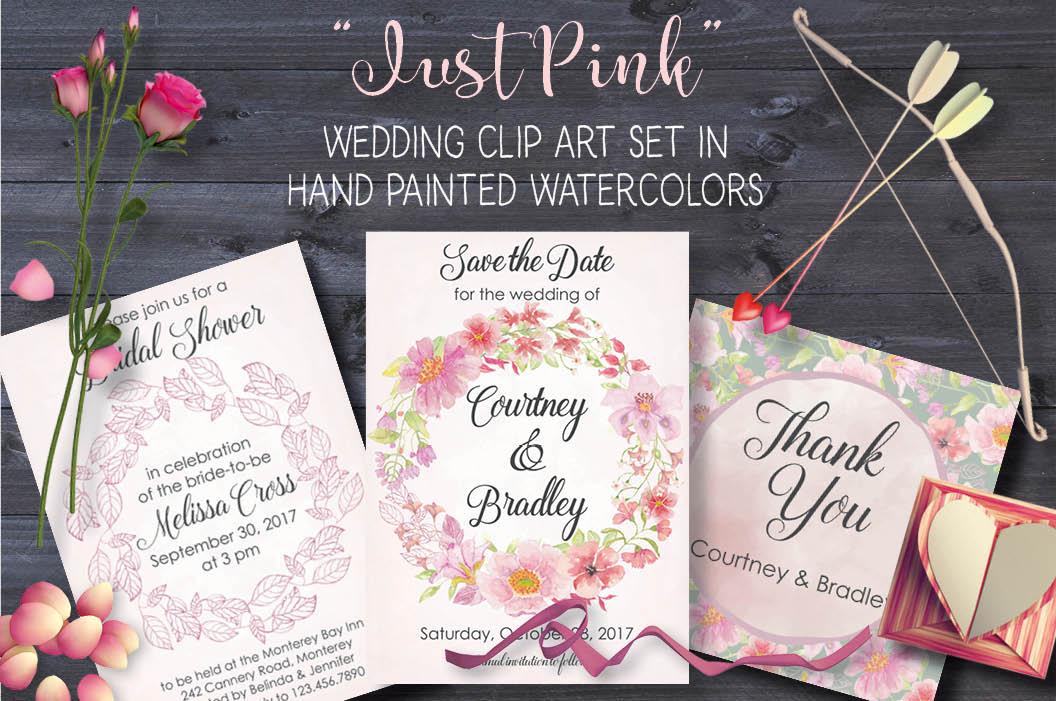 Watercolor clip art bundle: 'Just Pink' example image 1