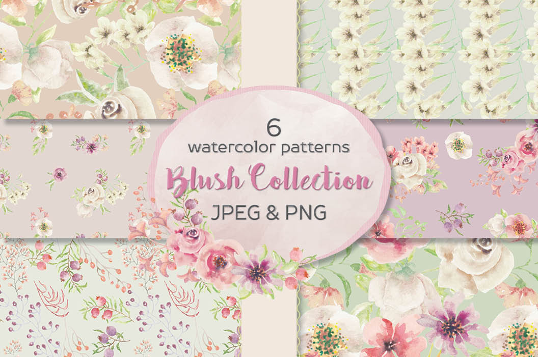 Set of 6 watercolor patterns in blush tones example image 1