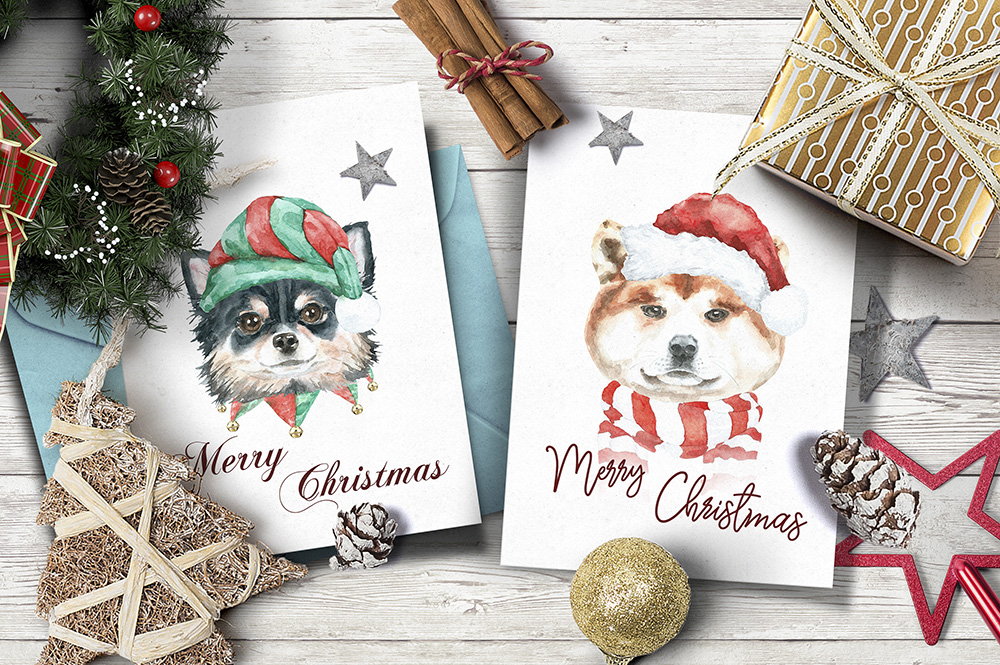 Christmas Animal Creator.Watercolor Dogs & Cats example image 4