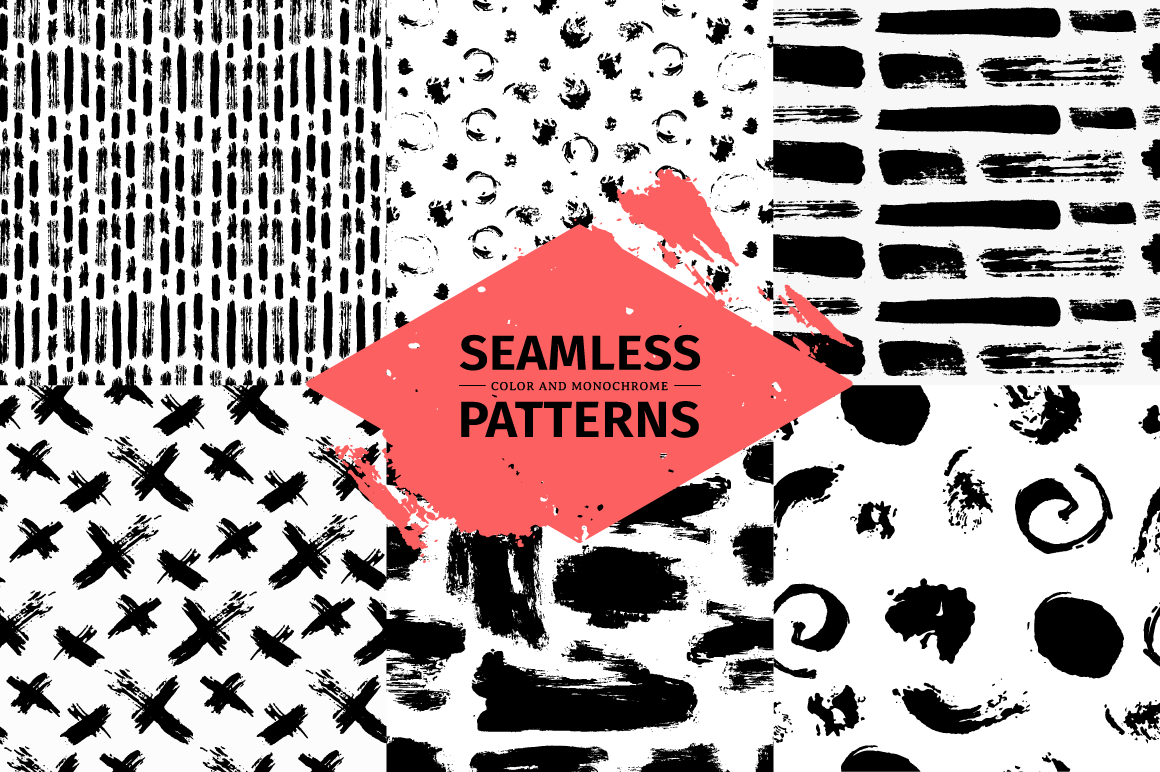 Set funny seamless patterns  example image 2