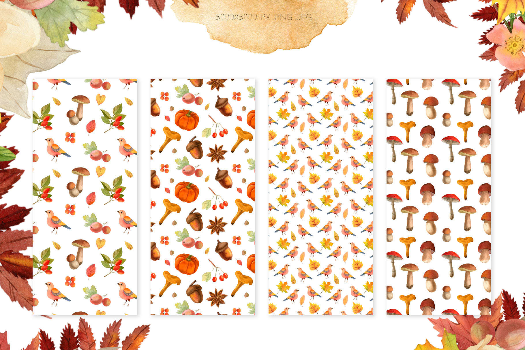 Watercolor Autumn Seamless Patterns Collection example image 2