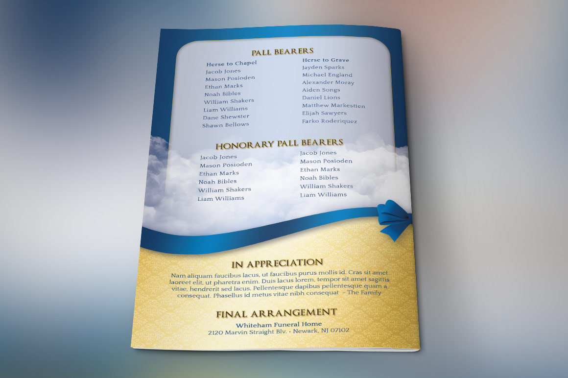 Blue Ribbon Funeral Program Template example image 4