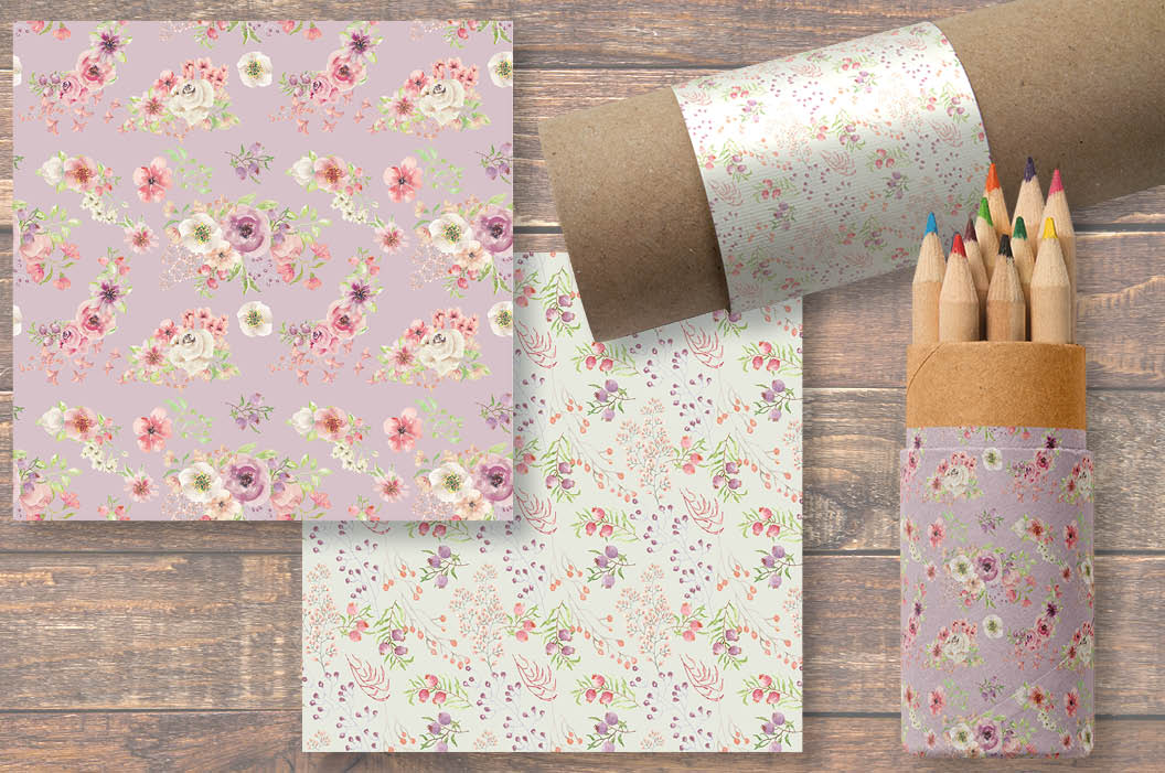 Set of 6 watercolor patterns in blush tones example image 4