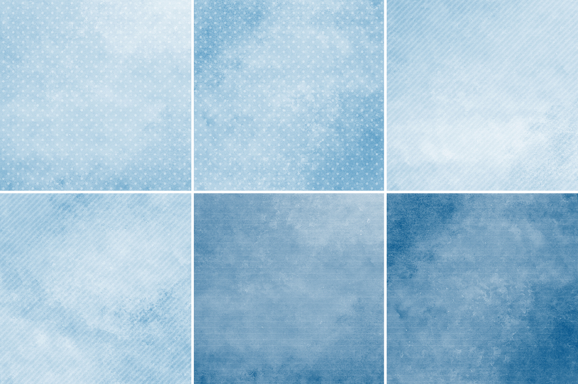 Watercolor Texture Backgrounds With Dots & Stripes - Blue example image 2