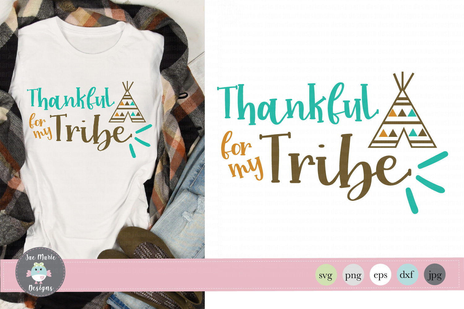 Thankful for myTribe svg, thanksgiving svg, fall sublimation example image 1