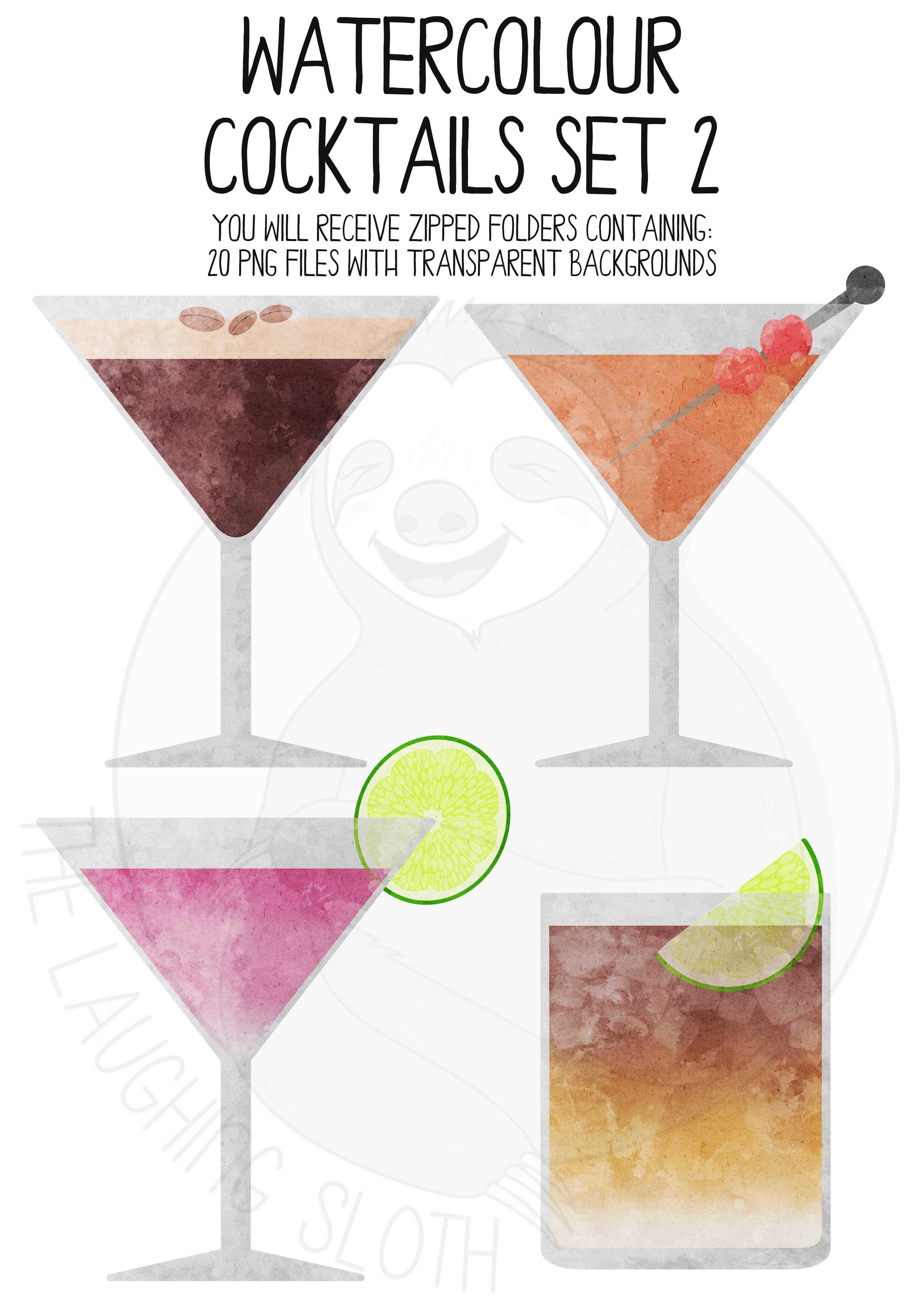 Watercolor Cocktails Clip Art Set 2 example image 2