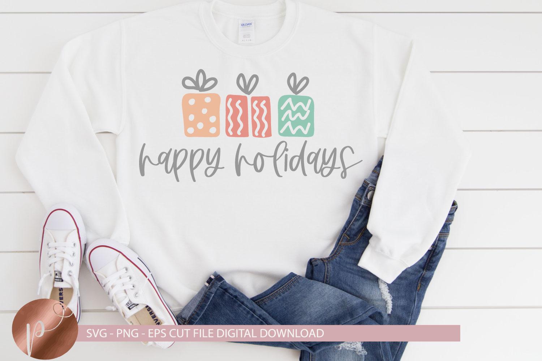 Happy Holidays Svg Png Eps, Christmas Tshirt Cut File Cricut example image 1