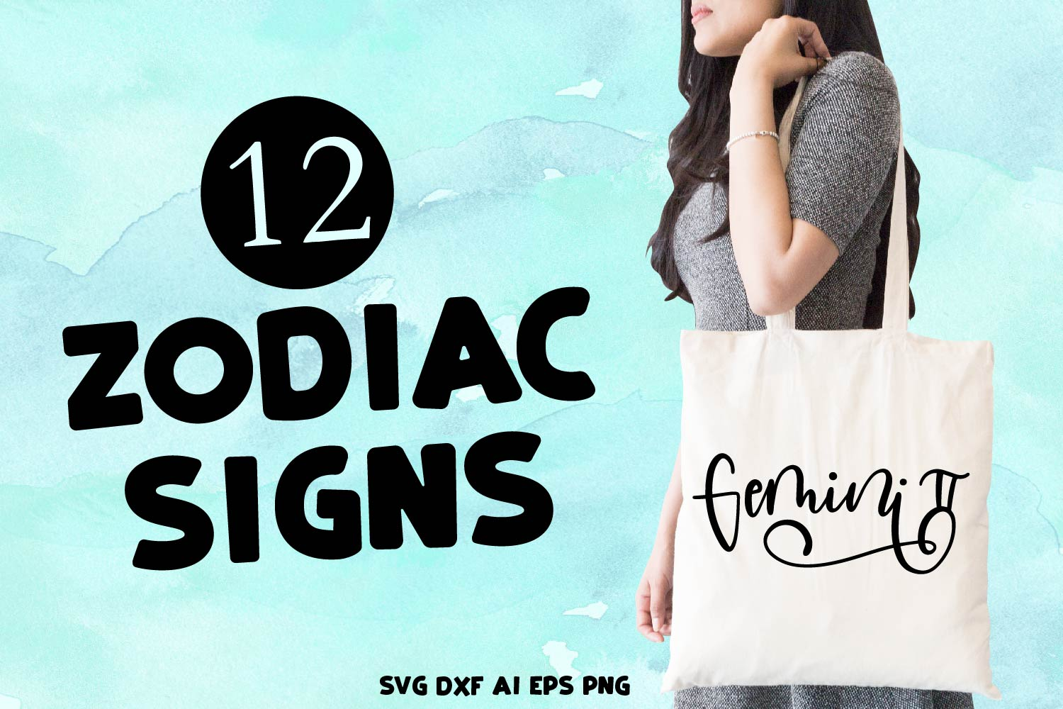12 Hand Lettered Zodiac Signs - SVG Bundle Pack example image 1
