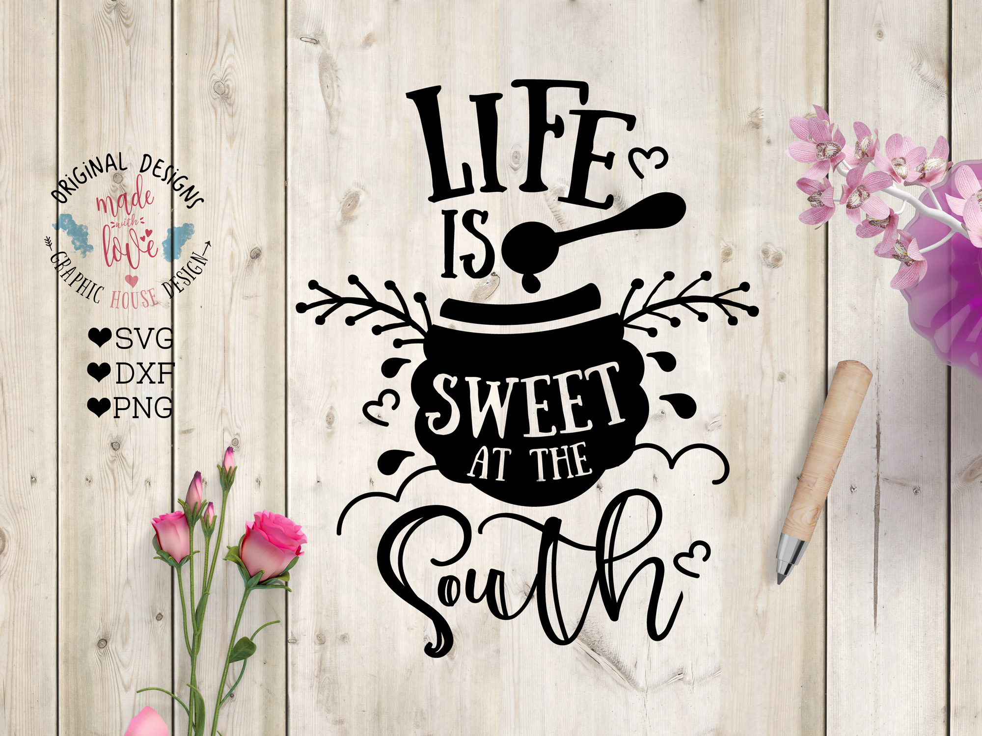 Life is Sweet at the South Cut File SVG, DXF, PNG example image 1