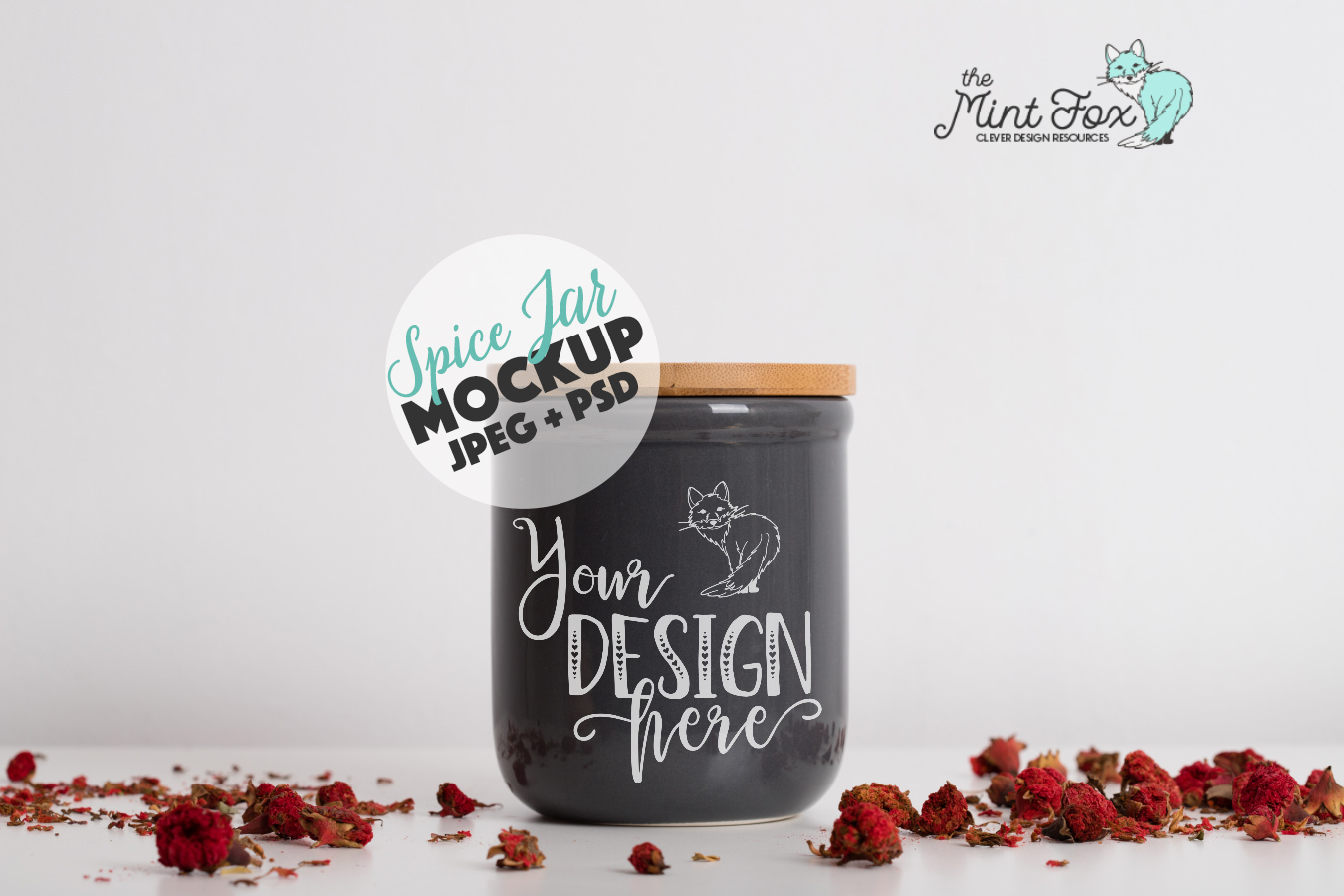 Spice Jar Mockup with Pomegranate Flowers | PSD & JPG Mockup example image 1