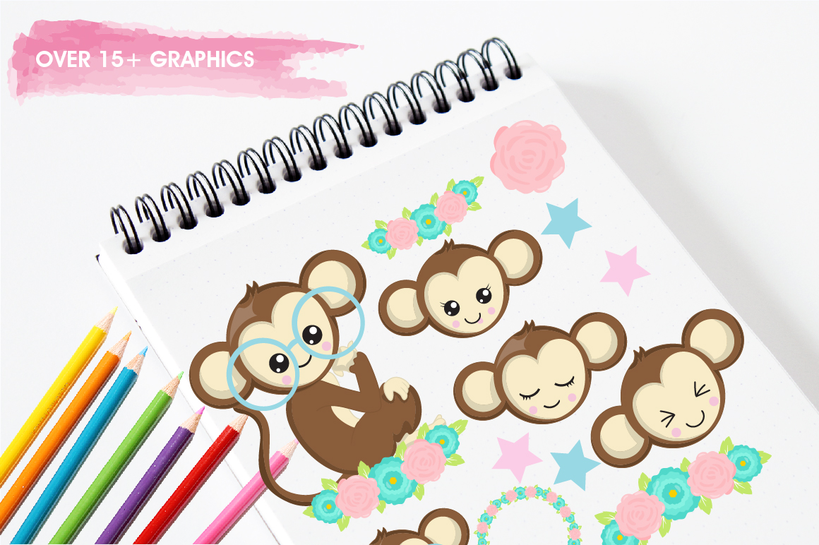 Cutie Monkeys graphics and illustrations example image 3