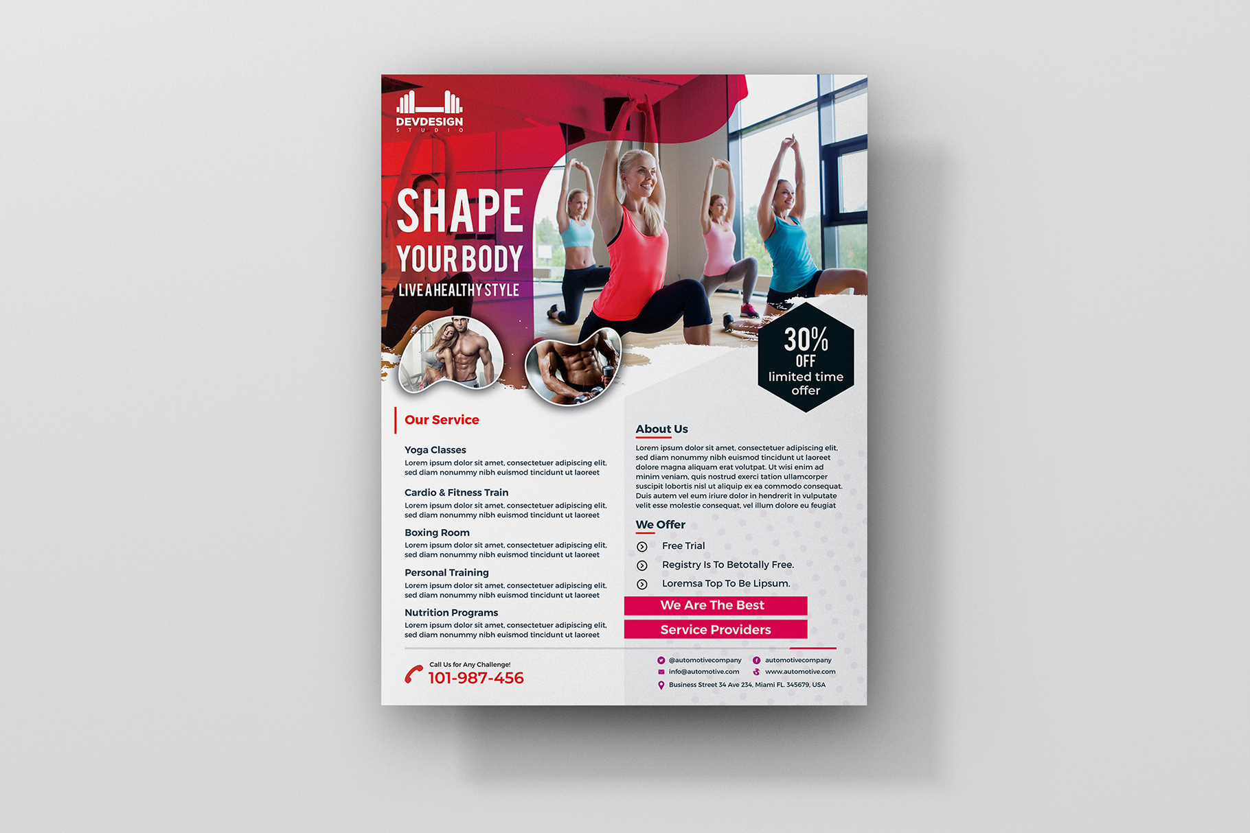 Modern GYM Flyer For GYM Business example image 2