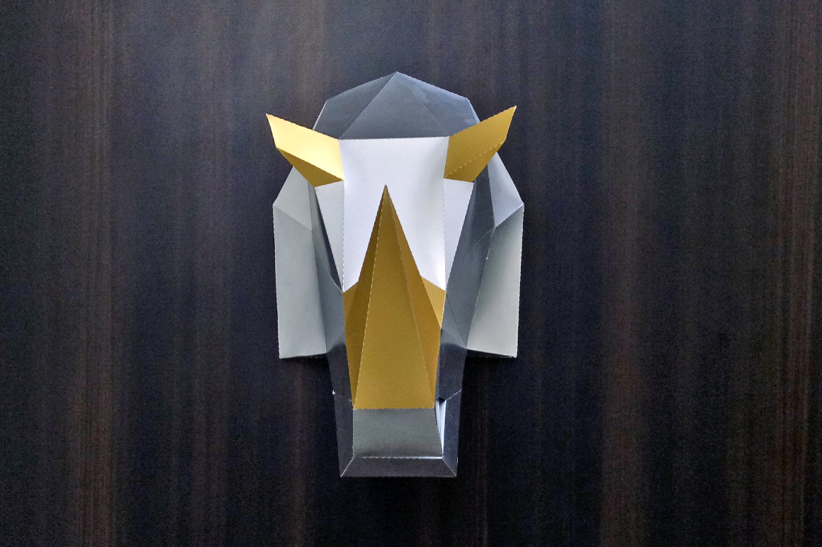 DIY Rhinoceros Head - 3d papercraft example image 5
