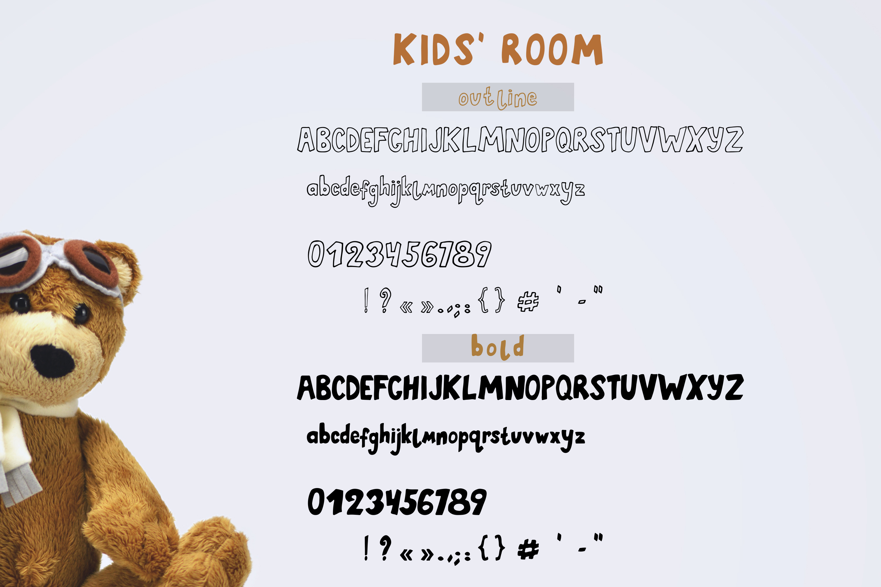 Kids' Room typeface with Outline and Solid versions example image 2