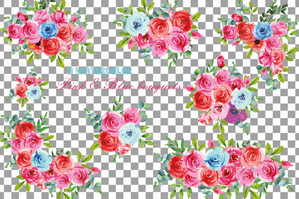 Boho pink and blue watercolor wedding bouquets, floral png example image 2