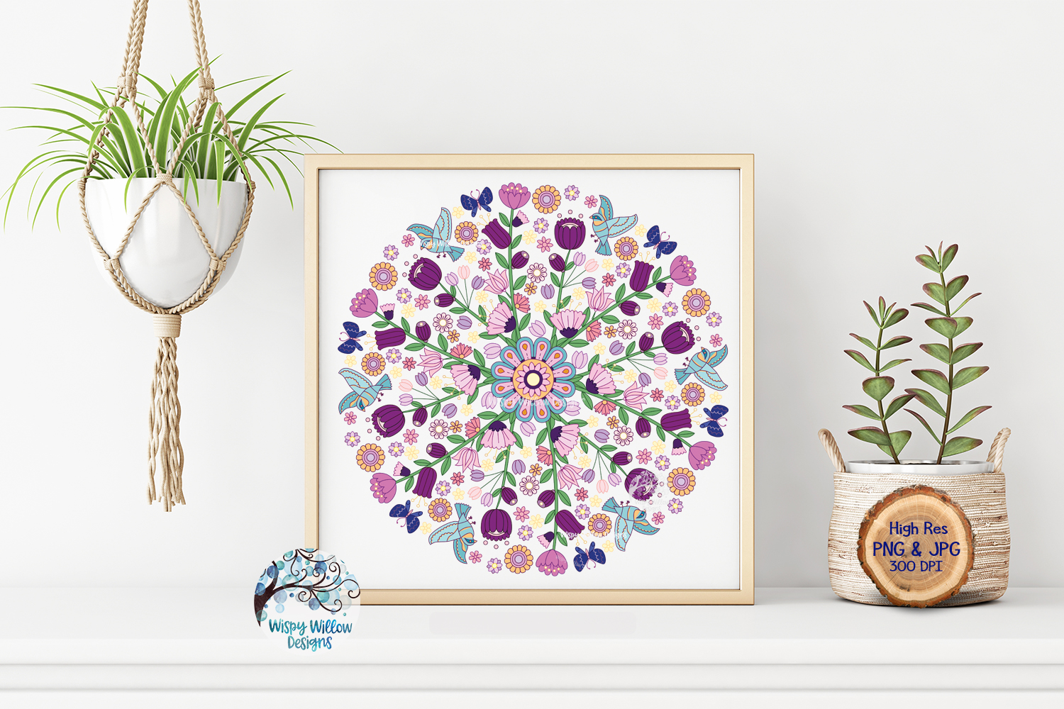 Floral Color Mandala   PNG and JPG   Sublimation example image 3