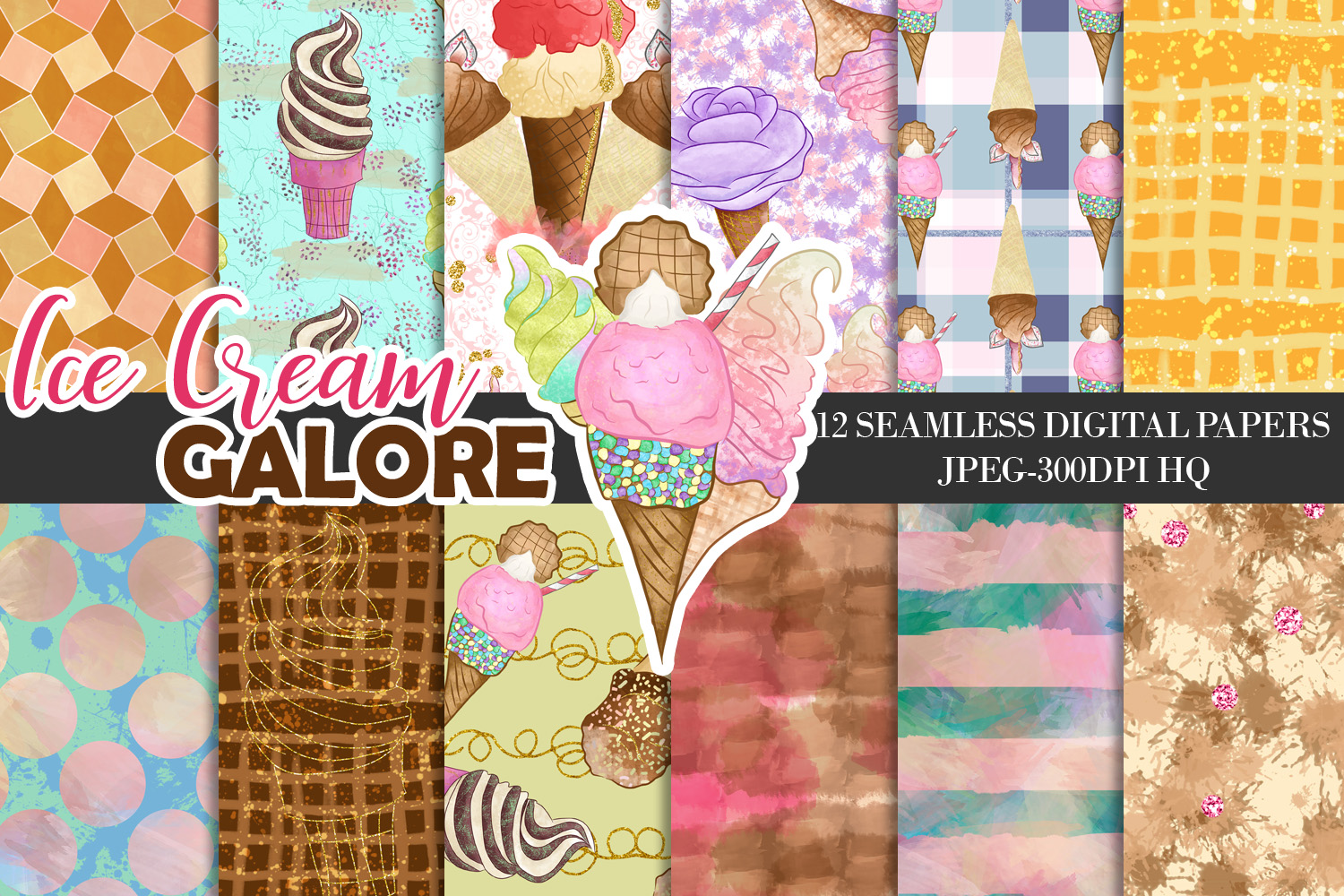 Ice Creams Digital Papers, Summer Seamless Patterns, Dessert Backgrounds example image 1