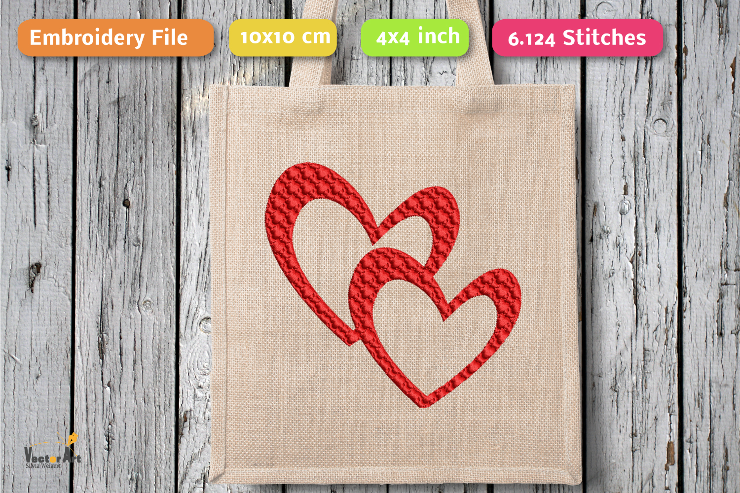 3 Hearts - Set - Embroidery File - 4x4 inch example image 3