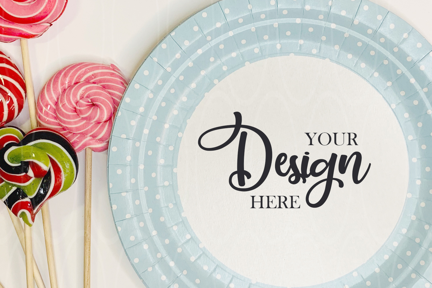 Styled Stock Photo Product Blue plate mock up example image 1