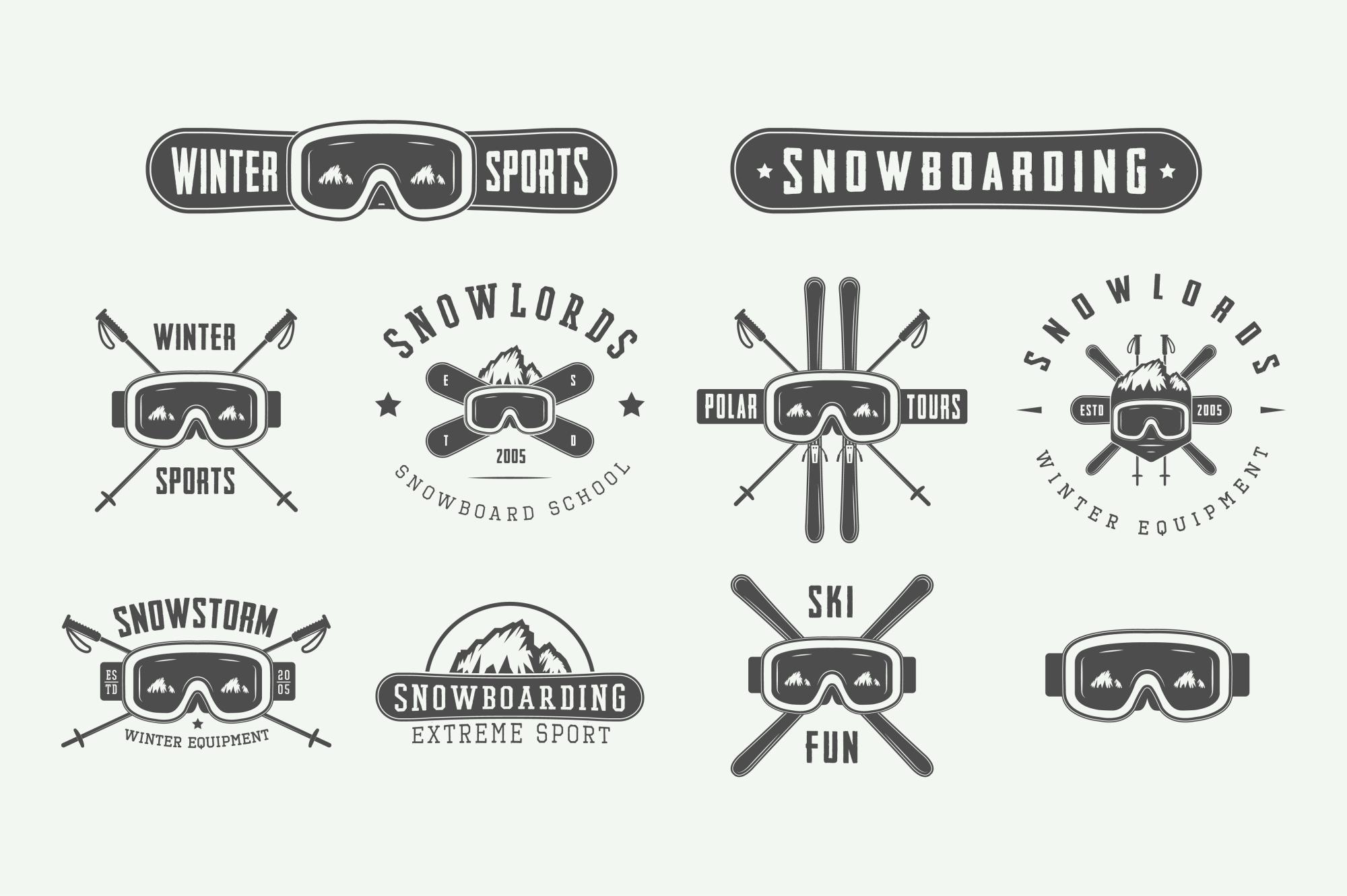 Set of vintage winter sports emblems example image 4
