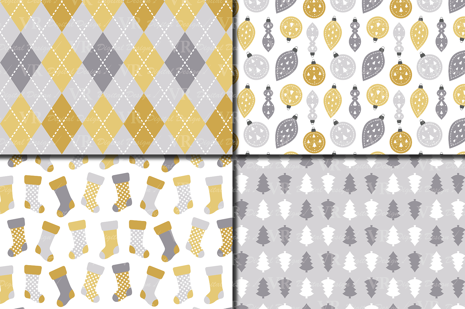 Gold and Silver Christmas Digital Paper Set example image 3
