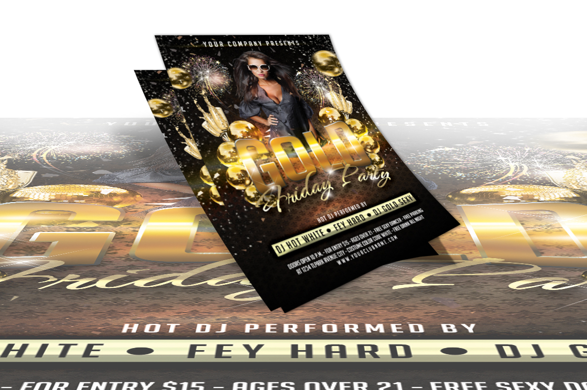 Gold Friday Party Flyer example image 2