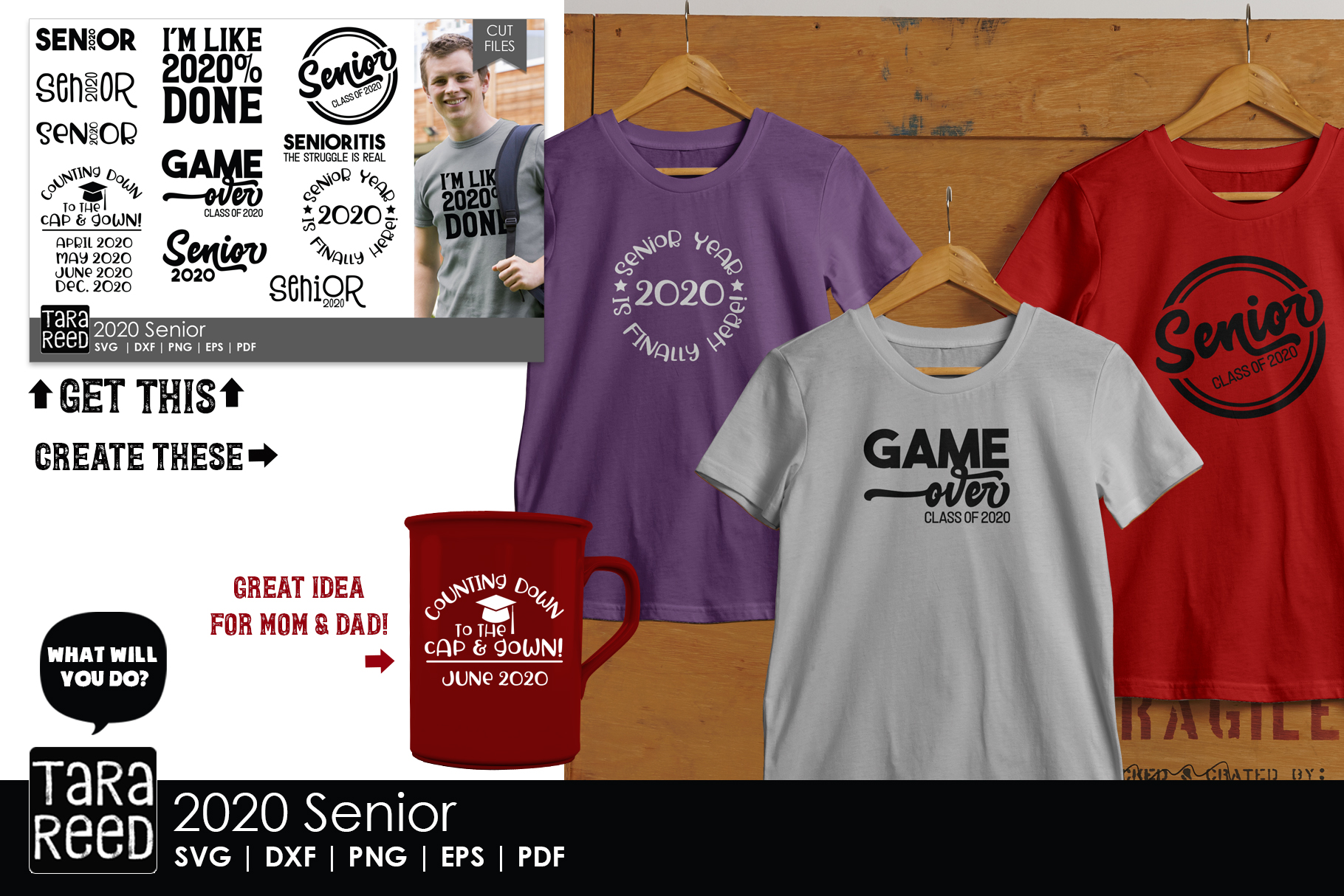 2020 Senior - School SVG and Cut Files for Crafters example image 2