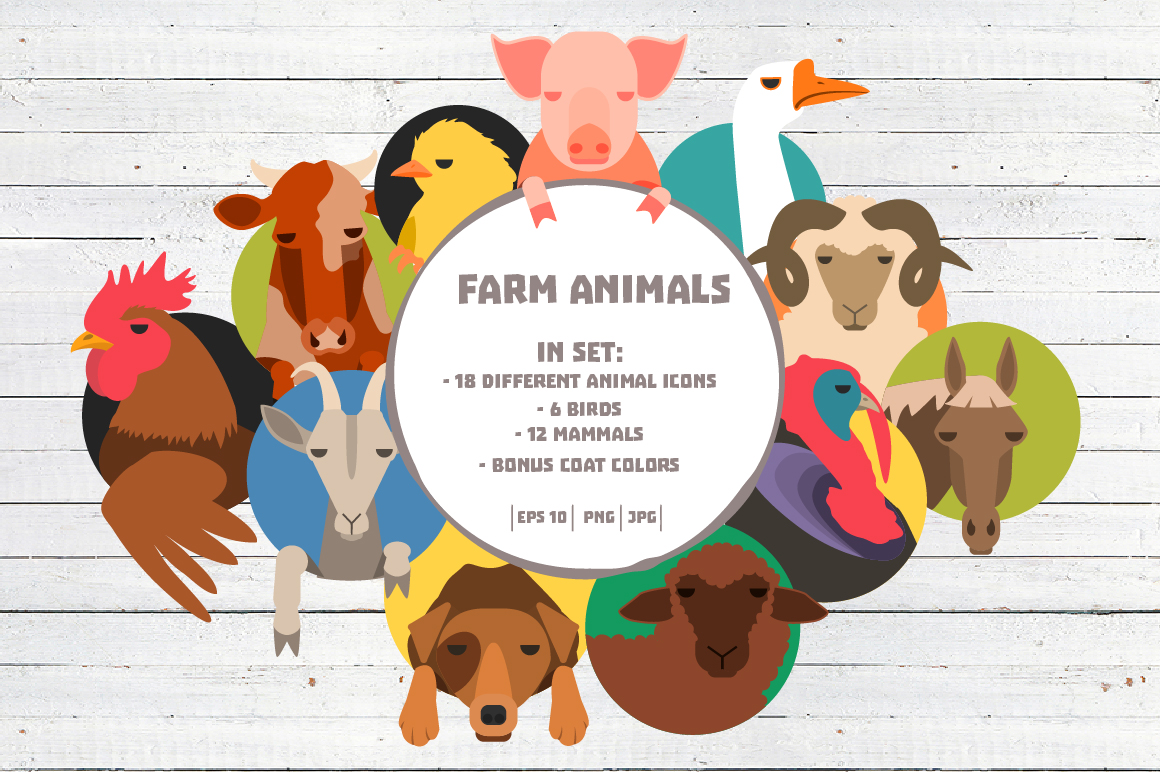 Vector Farm animals 36 icons in 2 colors example image 1
