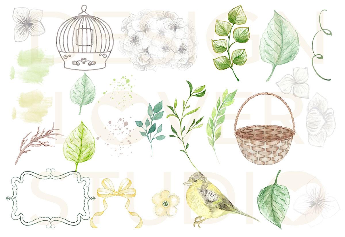 Watercolor White Hydrangeas design example image 3