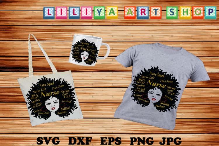 Afro Nurse svg,Nurse Life svg,Afro woman svg example image 1