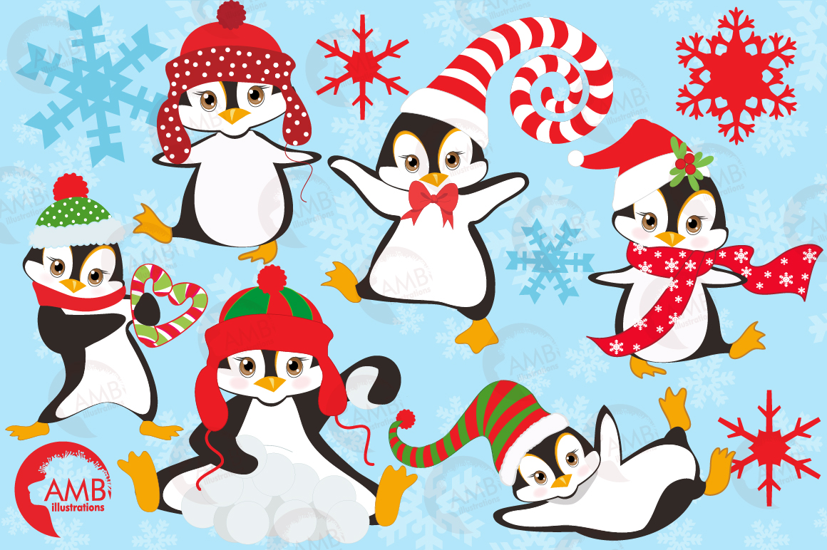 Winter Penguins cliparts, graphics, illustrations AMB-307 example image 4