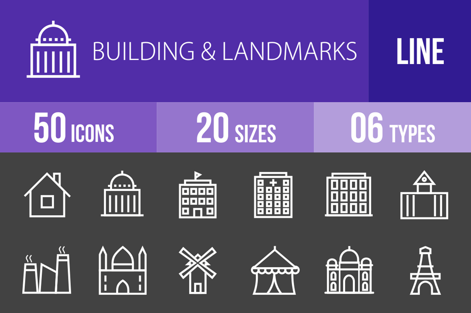 50 Buildings & Landmarks Line Inverted Icons example image 1