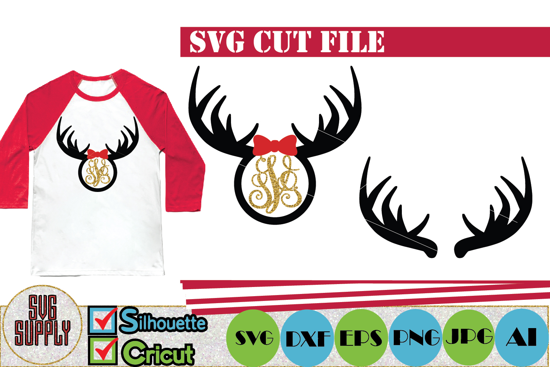 Reindeer Antler Monogram SVG Cut File example image 1