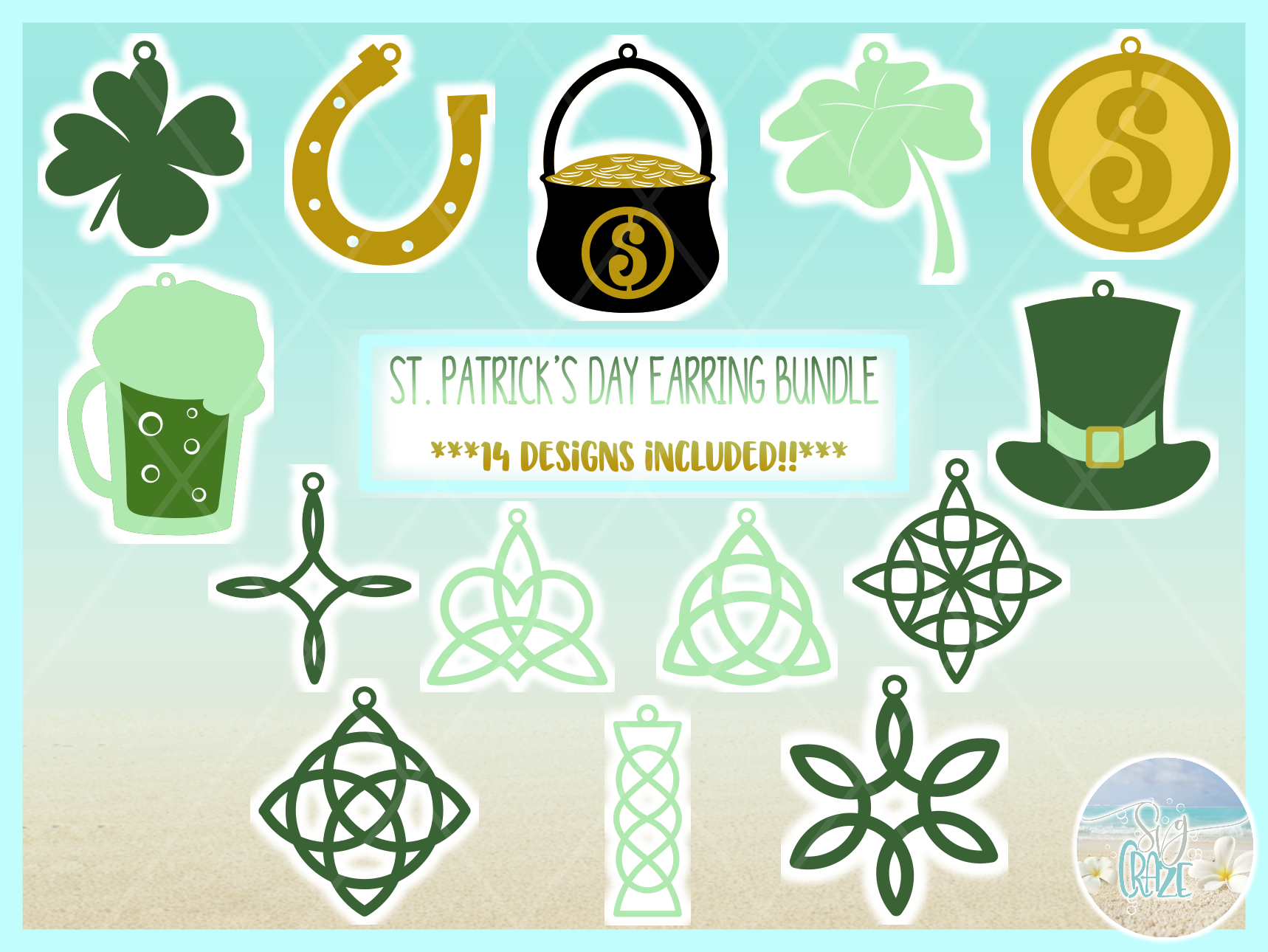 St Patricks Day Faux Leather Earring Necklace Pendant SVG example image 5