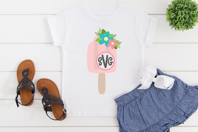 Monogram SVG - Floral SVG - Summer - Popsicle Bundle SVG example image 3