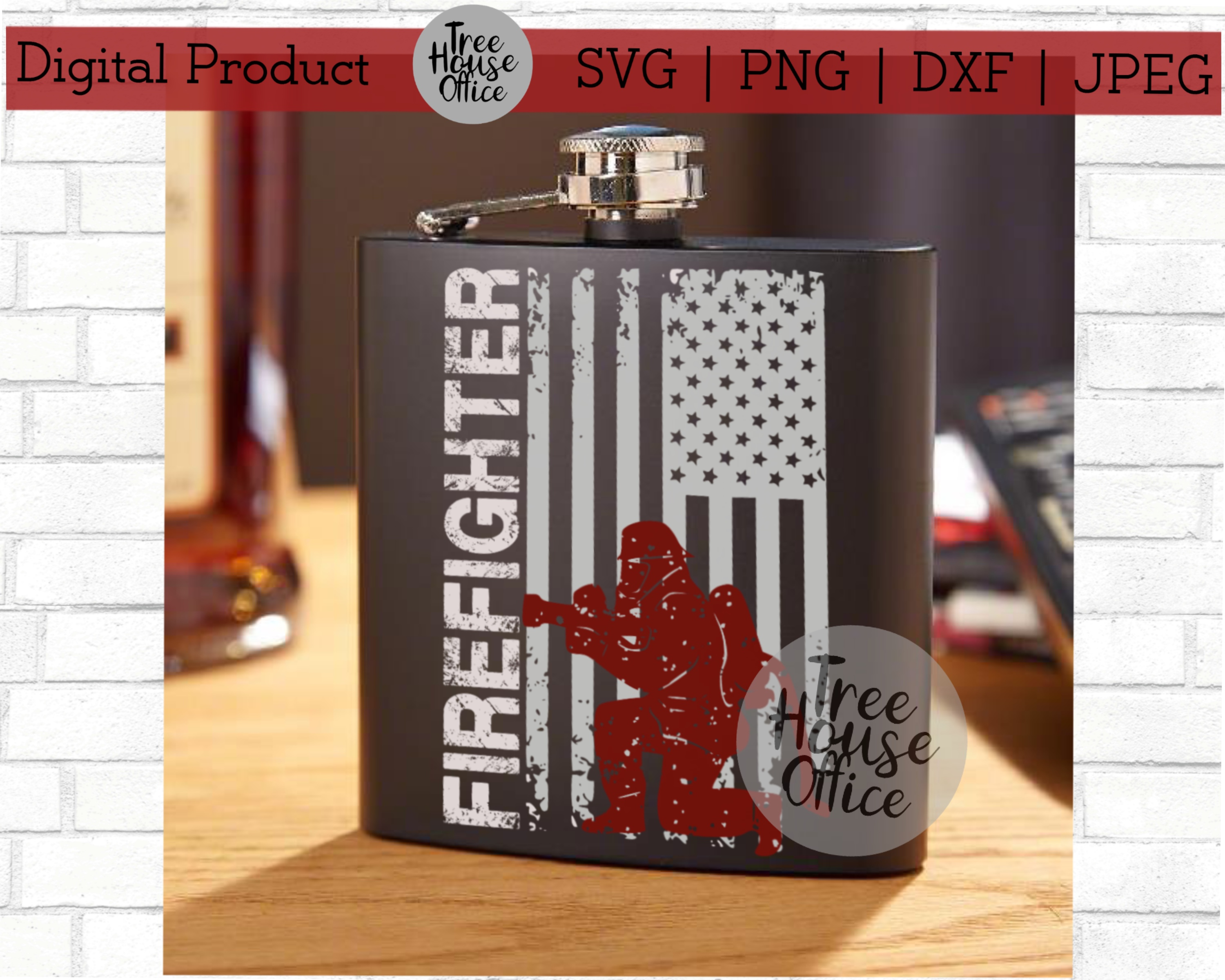 Firefighter Flag Thin Red Line SVG DXF PNG JPEG example image 3