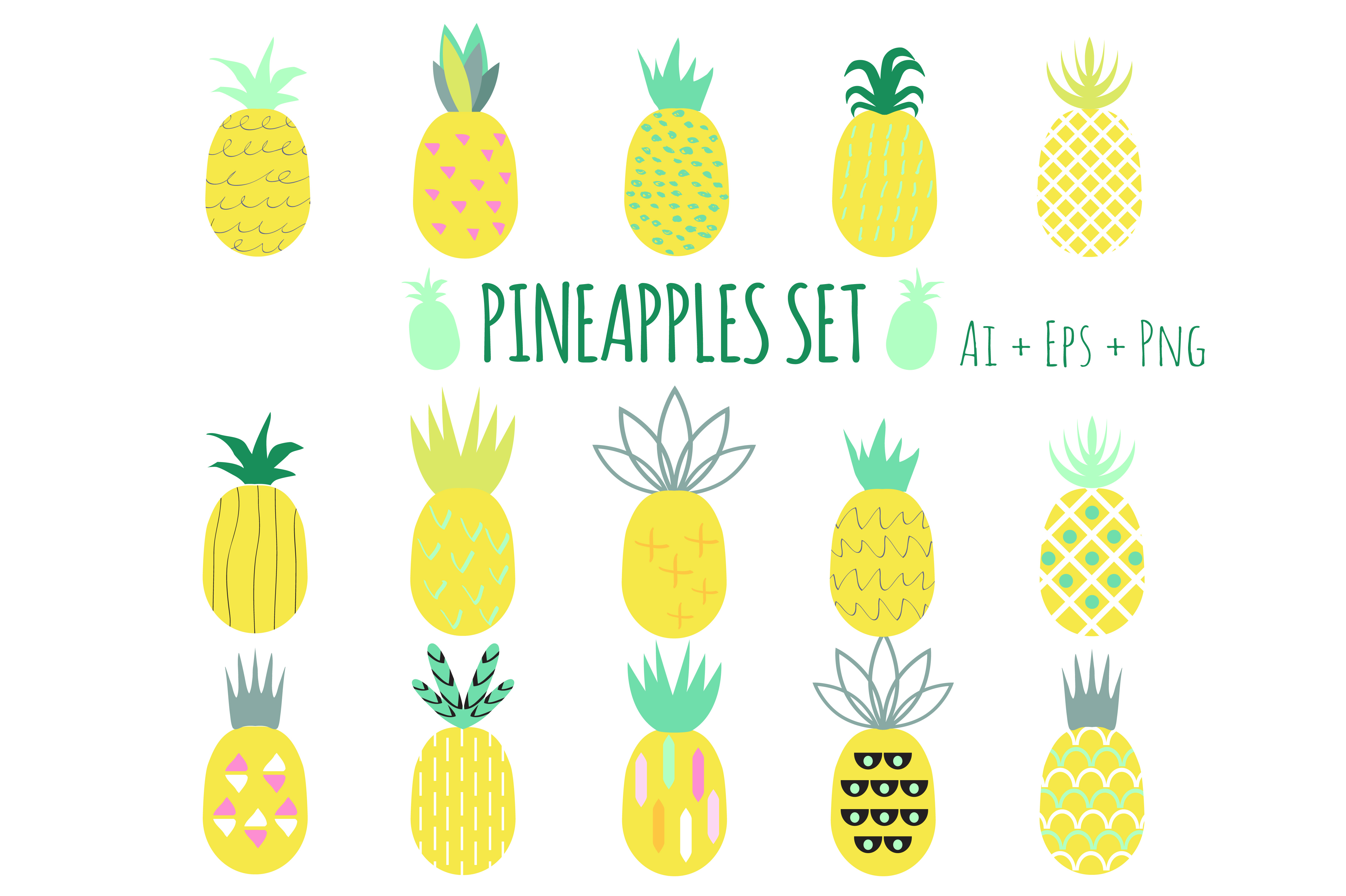 Creative Pineapples Set Vector example image 1