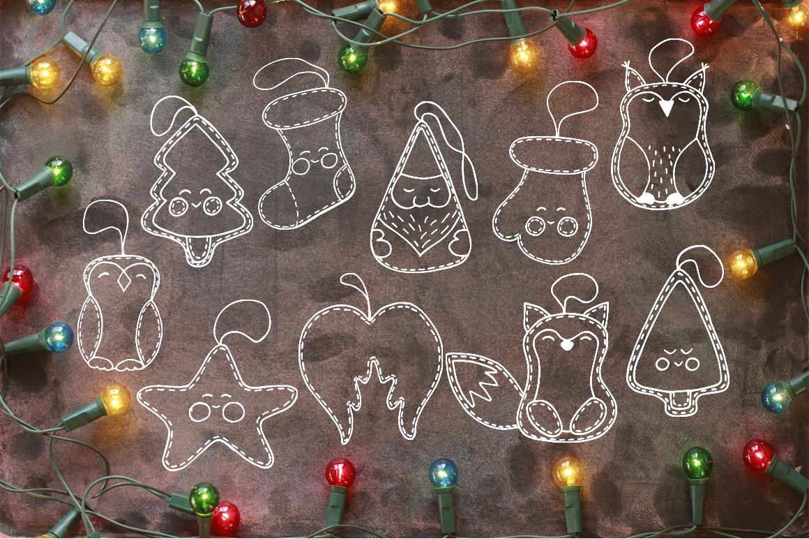 Christmas toys Hand drawn decorative Set example image 4