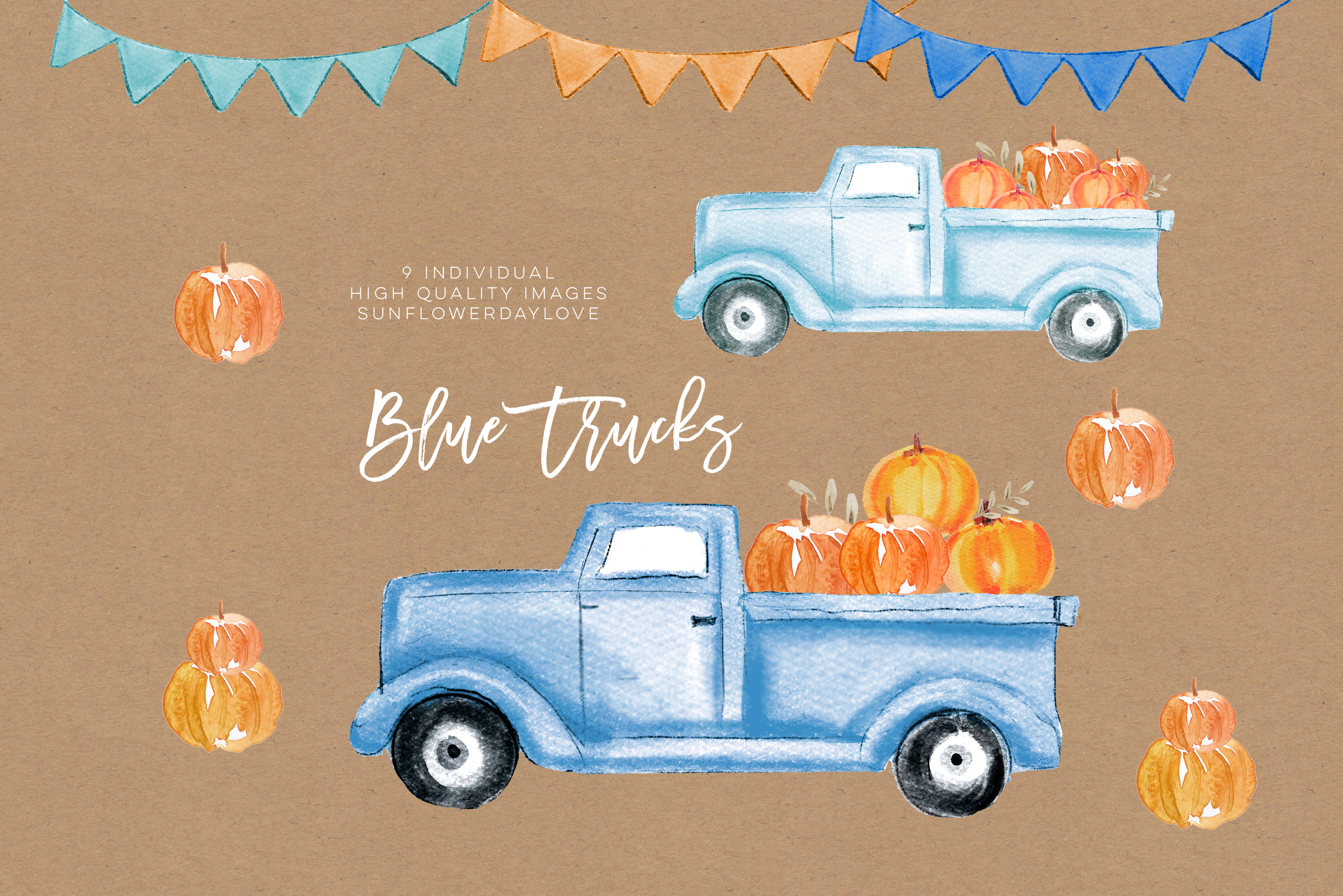 Fall Pumpkin Truck Clipart, Thanksgiving clipart example image 3