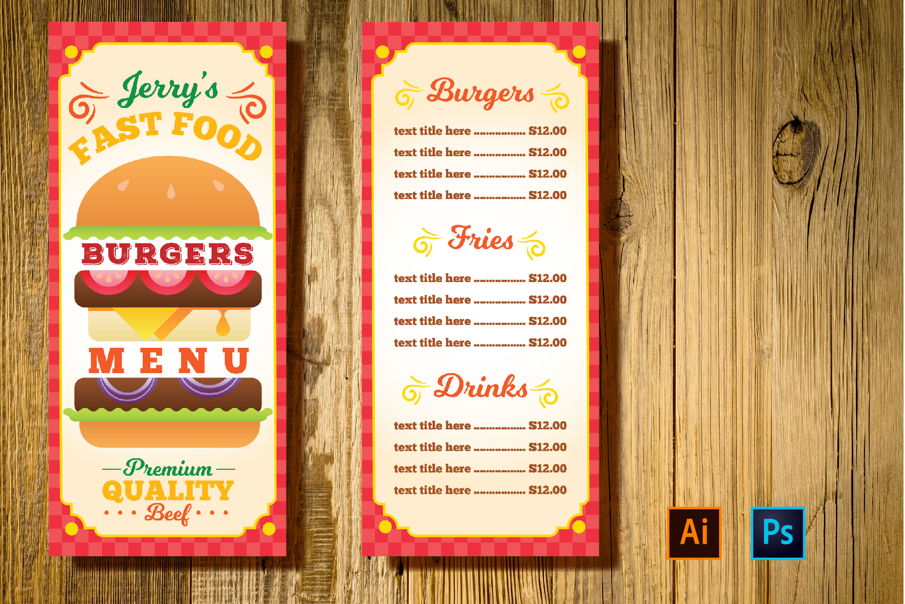 Burger Restaurant Menu Template example image 1